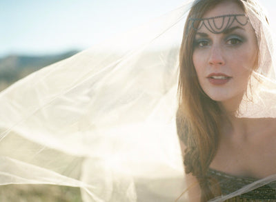 Danani | Chandelier Headpiece - Style #222 in Pewter | Loblee Photography