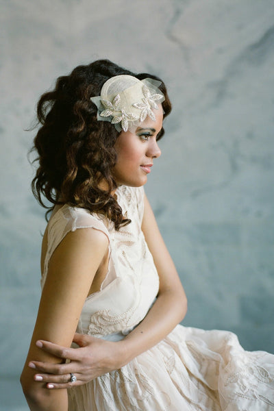 Beaded Leaf Bridal Hat - Style #405