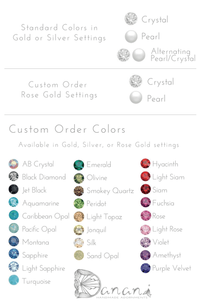 Custom Crystal Color Options for Style #201 Ripple Headpiece