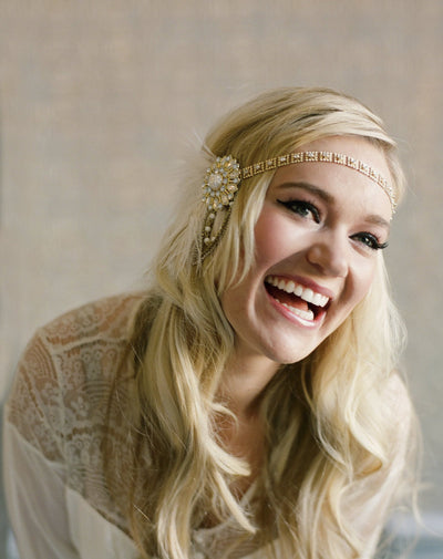 Flapper Headband - Gold and Ivory - Style #107