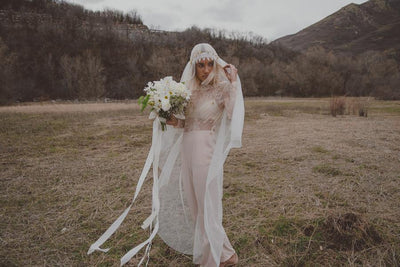 Danani Style #308 | Bride wearing jumper with vintage inspired floor length juliet veil bridal cap with lace trim | Chantel Marie Photography