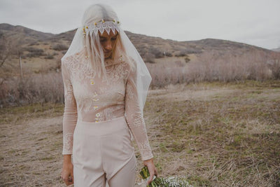 Danani Style #308 | Bride wearing jumper with vintage inspired juliet veil bridal cap with lace trim | Chantel Marie Photography