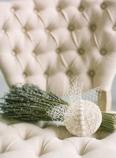 Buttons & Lace Bridal Hat - Style #404
