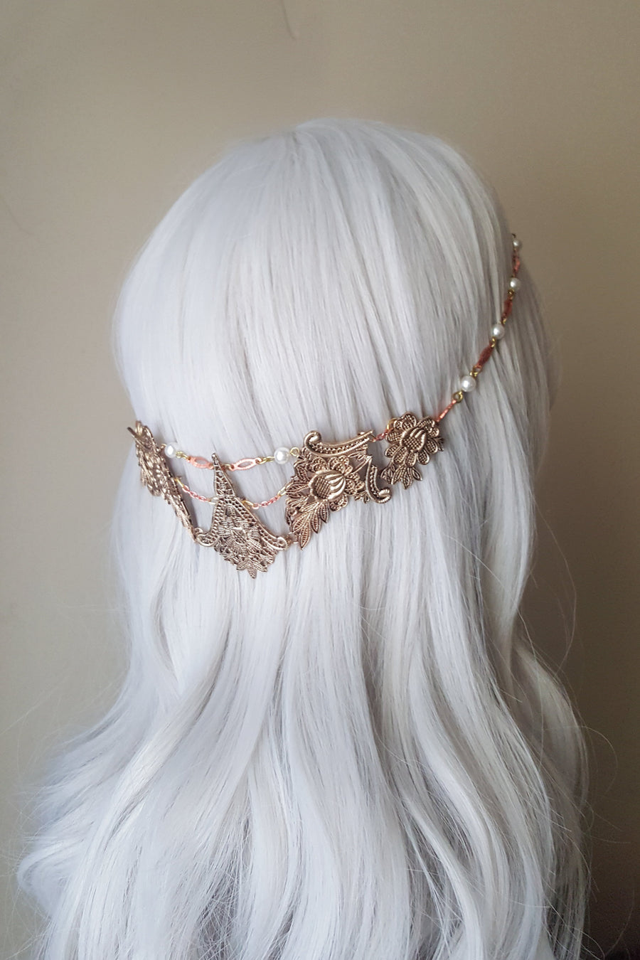 Mixed Metal Filigree Halo Headpiece - Style #202