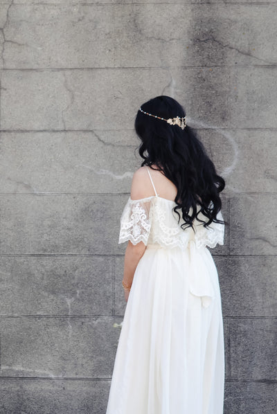 Danani | Mixed Metal Filigree Halo Headpiece - Style #202 | Chelsi Hunsaker Photography
