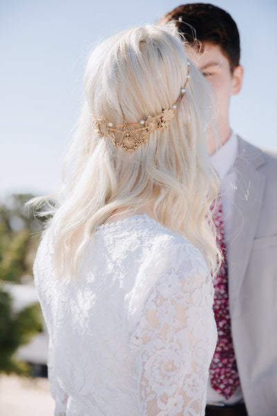 Danani | Mixed Metal Filigree Halo Headpiece - Style #202 | Tressa Photography