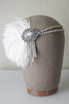 Danani Style #102 | Bridal 1920's crystal teardrop flapper headband with ostrich feather for Gatsby wedding