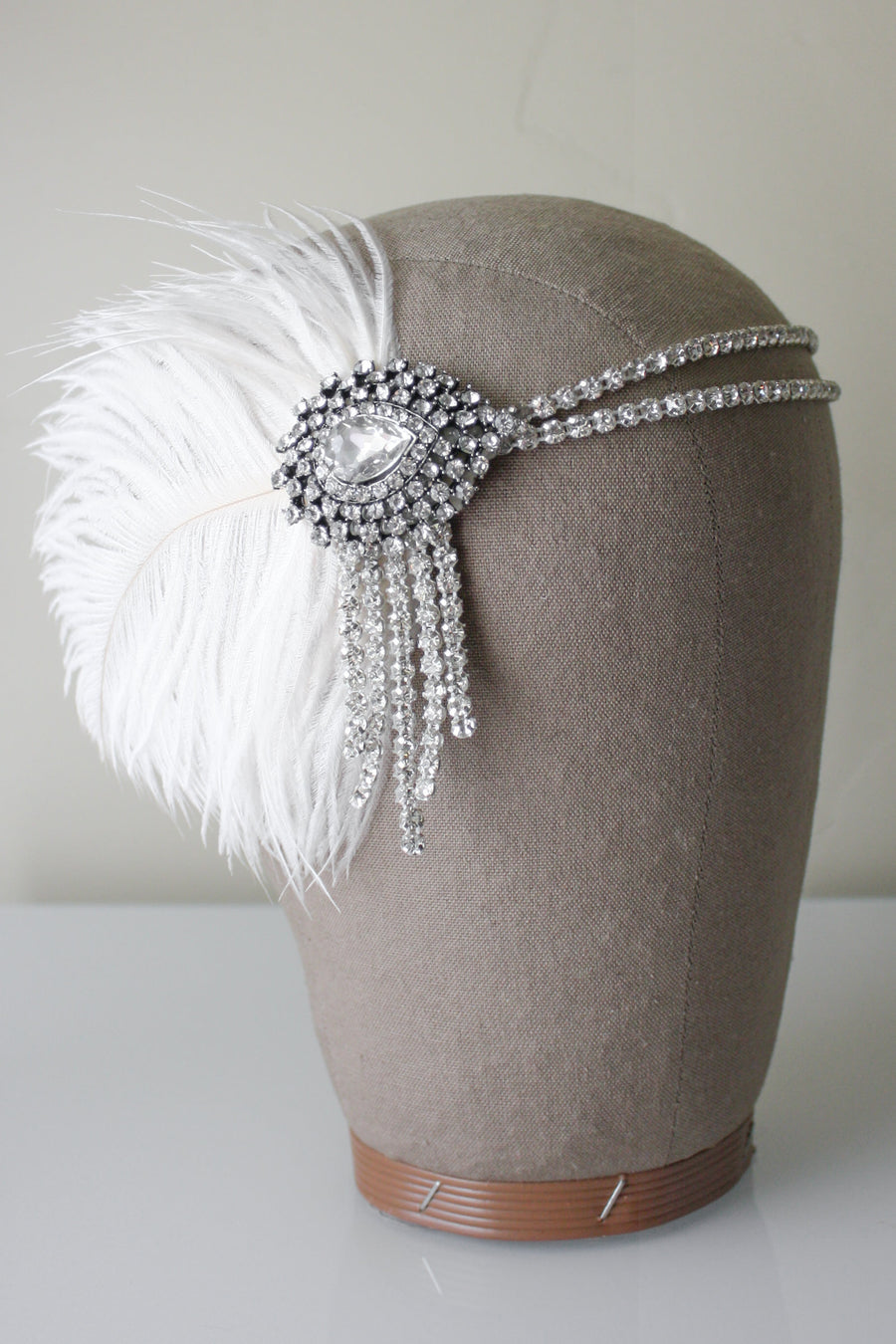 Danani Style #102 | Bride wearing 1920's crystal teardrop flapper headband with ostrich feather for Gatsby wedding | Loblee Photography