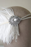 Danani Style #102 | Bridal 1920's crystal teardrop flapper headband with ostrich feather for Gatsby wedding | Loblee Photography