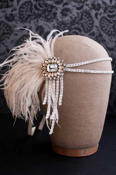 Danani Style #102 | 1920's antiqued blush flapper headband with ostrich feather for Gatsby wedding