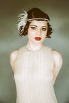 Danani Style #102 | Bride wearing 1920's antiqued blush flapper headband with ostrich feather for Gatsby wedding | Heather Romney Photography
