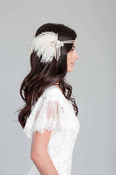 Danani | Gold and Pearl Flapper Headband - Style #110 | Loblee Photography