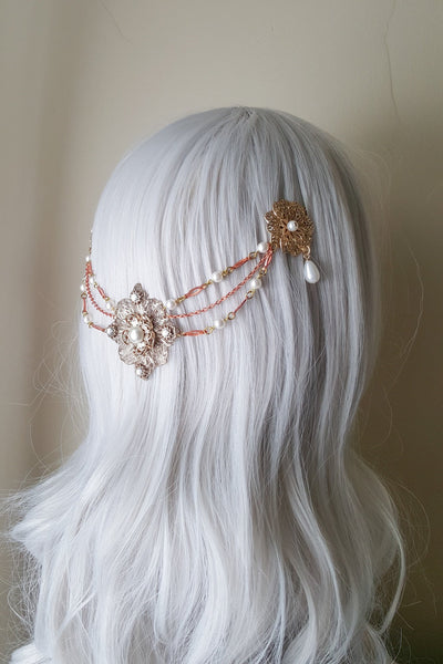 Mixed Metal Floral Hair Swag Headpiece - Style #208