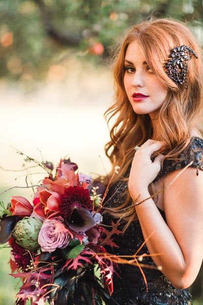 Black Draped Leaf Headpiece - Style #205