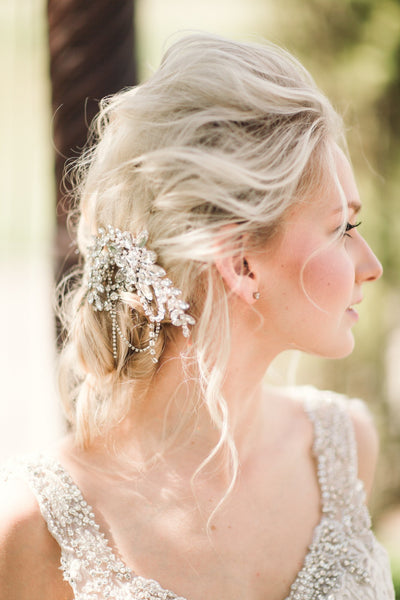 Silver Draped Leaf Headpiece - Style #205