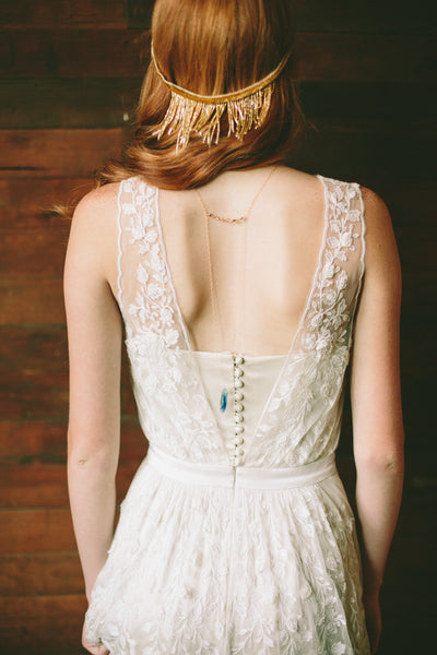 Danani | Beaded Fringe Halo in Gold - Style #207 | Lindsey Shaun Photography