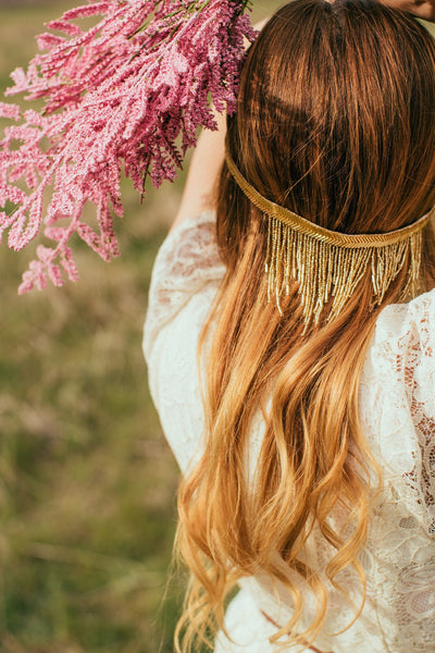 Danani | Beaded Fringe Halo in Gold - Style #207 | BP Film & Photo