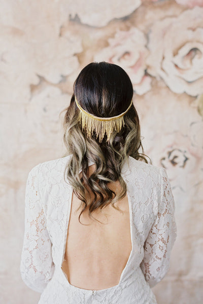 Beaded Fringe Halo Headpiece in Gold - Style #207