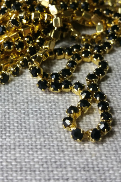 Danani | Draped Crystal Pins in Gold/ Black - Style #211