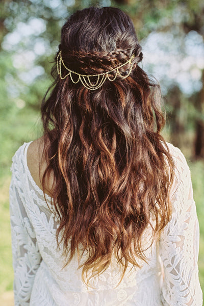 Danani | Chandelier Headpiece - Style #222 in Gold | Loblee Photography