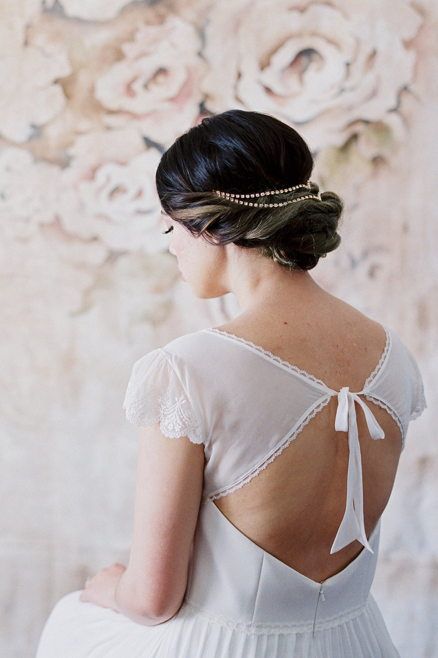 Danani | Double Draped V Headpiece - Style #225 | David Newkirk Photography