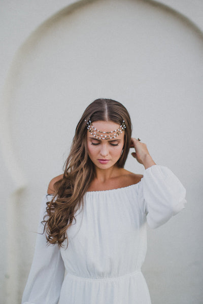 Danani | Pearl & Bronze Trio Hair Drape - Style #230 | Marcie Nelson Photo