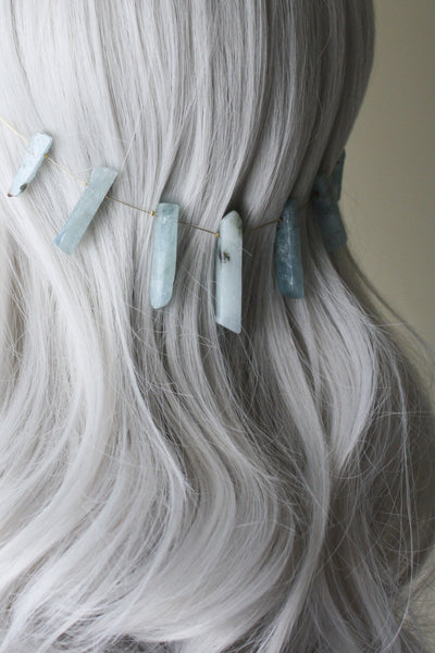 Danani | Gemstone Point Hair Swag - Style #234 | Aquamarine