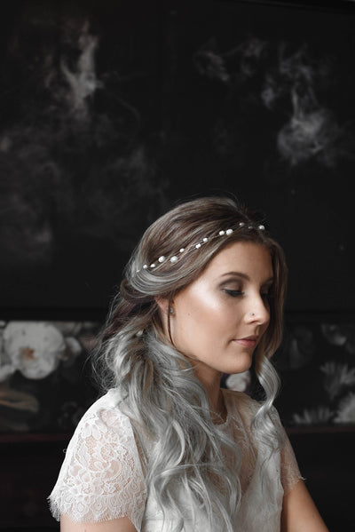 Danani | Freshwater Pearl Gemstone Hair Vine - Style #233 | Keri Michelle Photography
