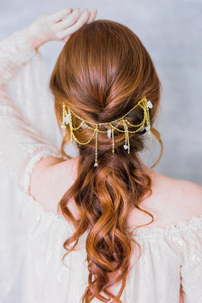 Danani | Gemstone Cascade Hair Swag Headpiece - Style #239 | Loblee Photography