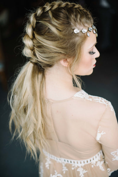 Danani | Dangling crystal drops sparkle on this forehead jewelry wedding headpiece worn with a faux hawk braid, perfect for a unique daring bride | Ali Sumsion Photography