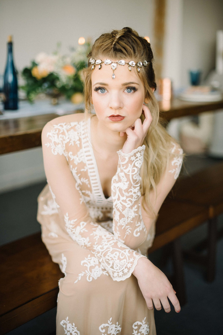 Danani | Stunning crystal dew drop forehead jewelry wedding headpiece in bronze, perfect for a glam bohemian bride | Eden Strader Photography