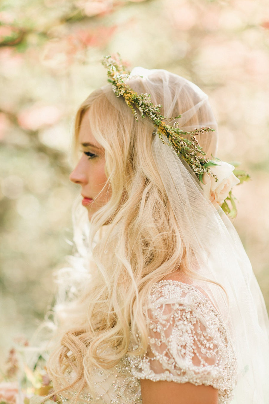 Sheer Juliet Veil Bridal Cap - Style #302