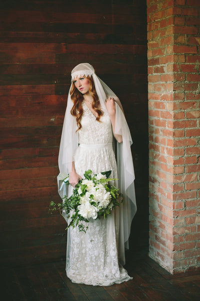 Danani Style #308 | Bride wearing vintage inspired floor length juliet veil bridal cap in ivory with lace trim| Lindsey Shaun Photography