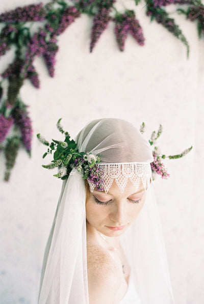 Danani Style #308 | Bride wearing vintage inspired hip length juliet veil bridal cap with lace trim and flower crown | Loblee Photography