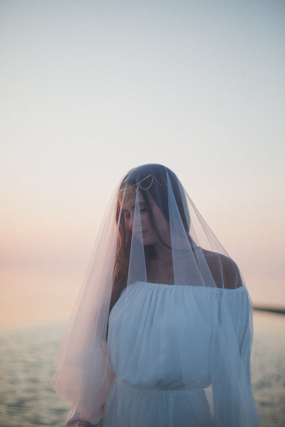 Danani | English Net Drop Veil with Blusher - Style #322 | Marci Nelson Photo