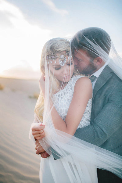 Danani | English Net Drop Veil with Blusher - Style #322 | Mallory Francks Photography