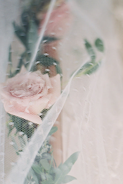 Danani | Lace & Point D'Esprit Halo Drape Veil - Style #324 | Loblee Photography