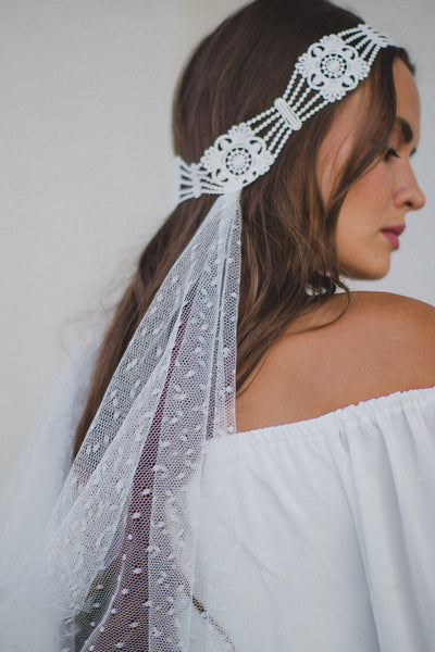 Danani | Lace & Point D'Esprit Halo Drape Veil - Style #324 | Marci Nelson Photo