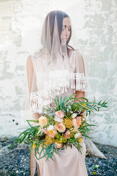 Danani | Lace Fringe Drop Veil - Style #327 | Loblee Photography