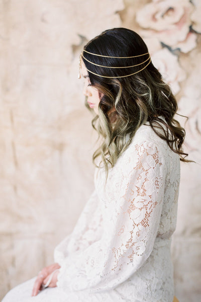 Danani | Gold Filigree Pearl Drop Bohemian Headpiece - #436 | Loblee Photography