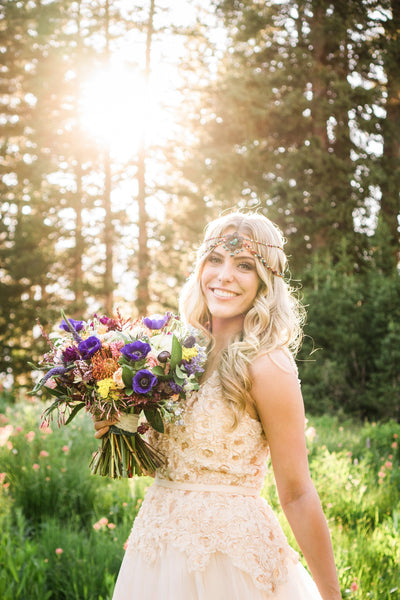 Danani | Rainbow, bronze, and turquoise wildflower bohemian beaded hair jewelry headpiece for a mountain outdoor wedding carefree gypsy bride. | True Radiance Photography