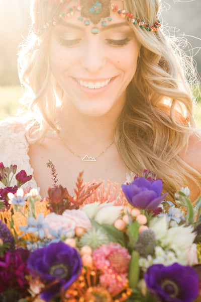 Danani | Colorful chain hair jewelry wildflower headpiece with turquoise for an outdoor barn wedding adventurous country bride. | True Radiance Photography