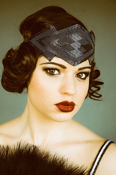 Danani | Gatsby Art Deco Headpiece - Style #452 in Gunmetal | Heather Romney Photography