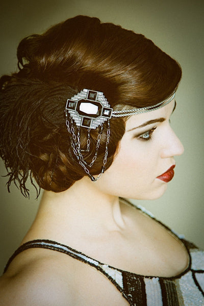 Flapper Headband - Black with Silver Art Deco - Style #104