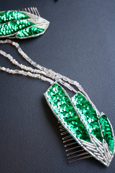 Emerald 1920s Draped Headpiece - Style #451