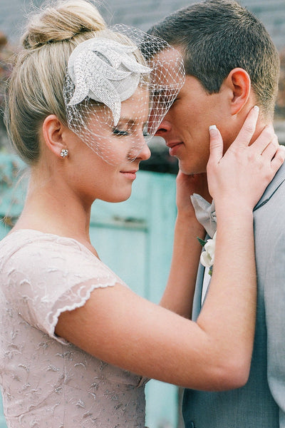 Light Grey Flourish Bridal Hat - Style #406