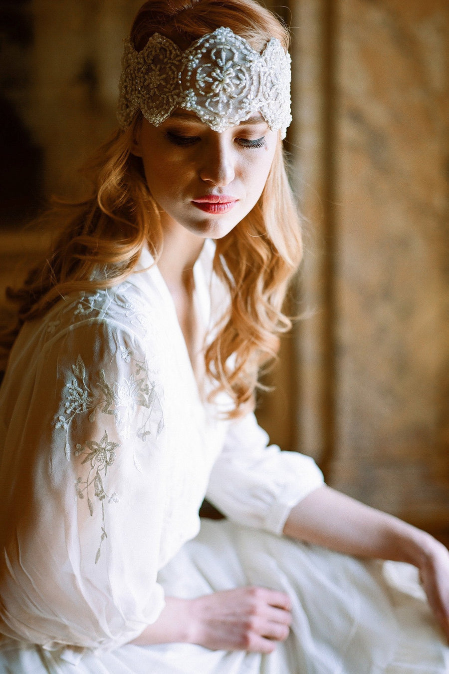 Beaded Medallion Bandeau Headpiece in Ivory & Gold - Style #217