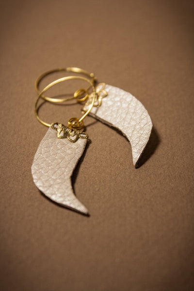 Leather Tusk Earrings with Gold Filigree
