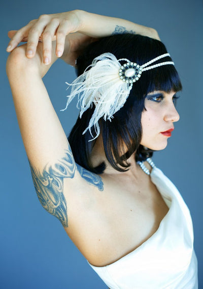 Danani Style #101 | Gatsby flapper head piece with pearl, crystal, and ostrich feather for a 1920's flapper wedding | Heather Romney Photography