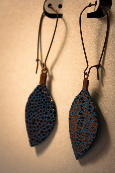 Illusion Leaf Leather Earrings - Navy and Copper